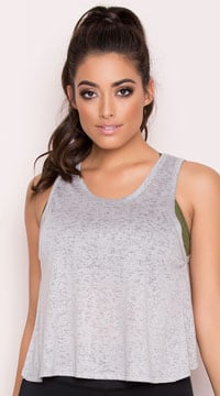 Yandy Split Burnout Tank Top - Cinder Grey