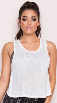 Yandy Split Burnout Tank Top - White