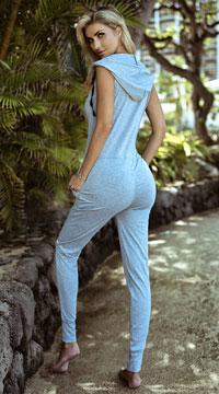 Yandy Hoodie Jumpsuit - Heather Grey