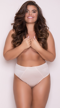 Yandy Plus Size High Waisted Power Stretch Thong - Almond