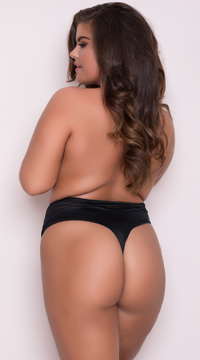 Yandy Plus Size High Waisted Power Stretch Thong - Black