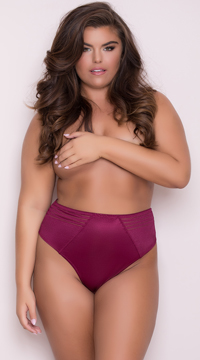Yandy Plus Size High Waisted Power Stretch Thong - Cocobon Red