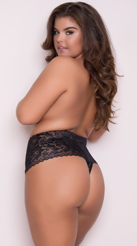 Yandy Plus Size High Waisted Stretch Thong - Black