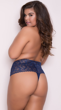 Yandy Plus Size High Waisted Stretch Thong - Navy
