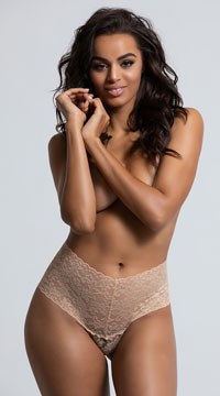 Yandy High Waisted Power Stretch Lace Thong - Almond