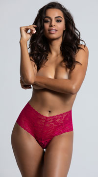 Yandy High Waisted Power Stretch Lace Thong - Fuchsia
