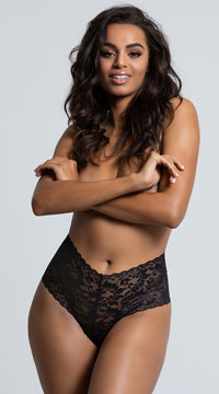 Yandy High Waisted Power Stretch Lace Thong - Black