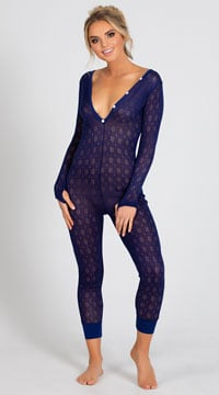 Yandy Cozy Sweater Lounge Jumpsuit - Blue