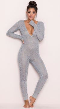 Yandy Cozy Sweater Lounge Jumpsuit - Grey