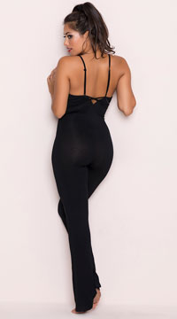 Yandy Every Rose Lounge Jumpsuit - Black