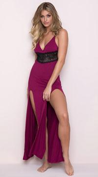 277eeb00b4f ... Yandy Draping Lounge Dress - Wine ...