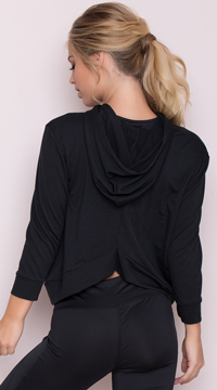 Yandy Hooded Active Top - Black