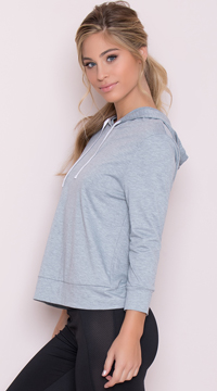 Yandy Hooded Active Top - Heather Grey