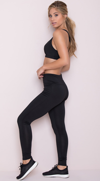 Yandy Lace-Up Leggings - Black