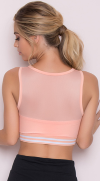 Yandy Striped Jersey Sports Bra - Peach