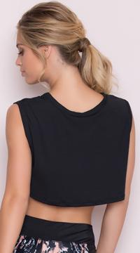 Yandy Cropped Active Shirt - Black