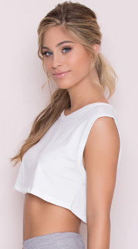 Yandy Cropped Active Shirt - White