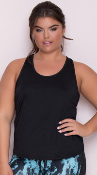 Yandy Plus Size Sporty Mesh Tank Top - Black