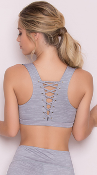 Yandy Lace-Up Sports Bra - Grey