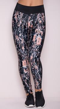 Yandy Splattered Mesh Leggings - Black/Peach