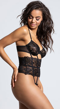 Yandy Caged In Bodysuit - Black