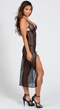 Yandy Laced Up and Lady Like Dress - Black
