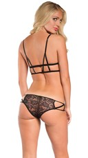 Yandy Lace Cage Bralette and Boyshort - Black