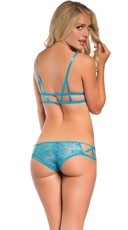 Yandy Lace Cage Bralette and Boyshort - Turquoise