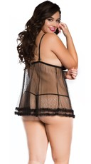Plus Size Sugar Dot Ruffled Babydoll - Black