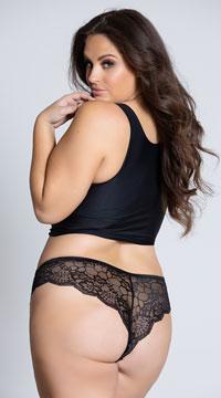 Plus Size Floral Lace Thong Panty - Black