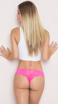 Yandy Floral Lace Thong Panty - Pink