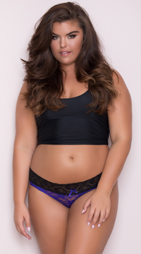 Yandy Plus Size All Over Lace Panty - Purple