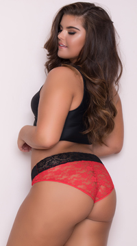 Yandy Plus Size All Over Lace Panty - Red