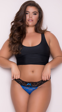 Yandy Plus Size All Over Lace Thong - Blue
