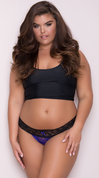 Yandy Plus Size All Over Lace Thong - Purple