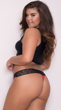 Yandy Plus Size All Over Lace Thong - Red