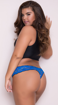 Yandy Plus Size Ruffled Lace Thong Panty - Blue