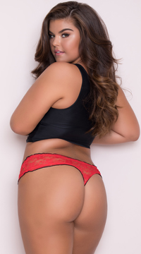 Yandy Plus Size Ruffled Lace Thong Panty - Red