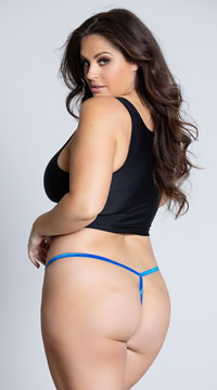 Yandy Plus Size Floral Galloon Lace Thong - Blue