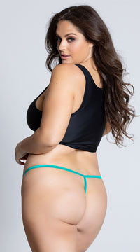 Yandy Plus Size Floral Galloon Lace Thong - Green