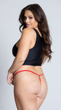 Yandy Plus Size Floral Galloon Lace Thong - Red