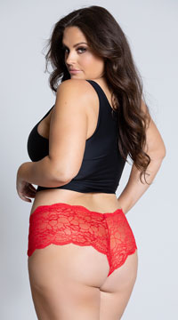 Yandy Plus Size Floral Galloon Lace Boyshort - Red