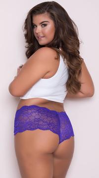 Yandy Plus Size Floral Galloon Lace Boyshort - Purple