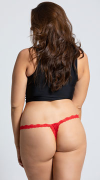 5f0388b5377 ... Yandy Plus Size Low Rise Lace Thong - Red