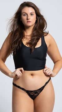 Yandy Plus Size Low Rise Lace Thong - Black