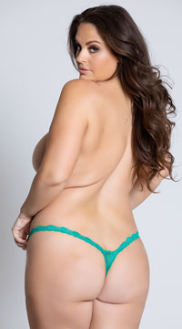 Yandy Plus Size Low Rise Lace Thong - Green