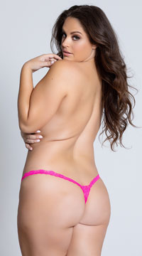 Yandy Plus Size Low Rise Lace Thong - Hot Pink