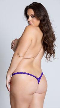 Yandy Plus Size Low Rise Lace Thong - Purple