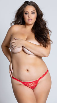 Yandy Plus Size Low Rise Lace Thong - Red