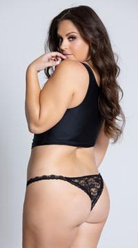 Yandy Plus Size Low Rise Lace Bikini - Black